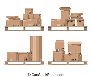 Pile cardboard boxes on wooden pallets.