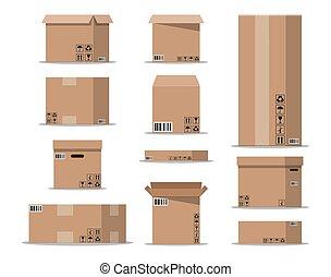 Pile cardboard boxes set