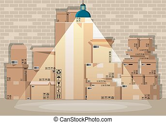 Pile cardboard boxes set in warehouse