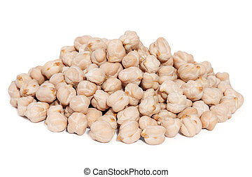 Pile Chickpea Bean isolated on white background. - Pile...