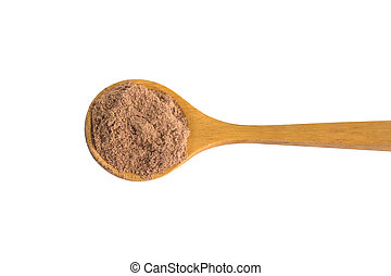 Pile cocoa powder in wooden spoon isolated on white background