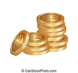 pile coins with litecoin vector illustration design