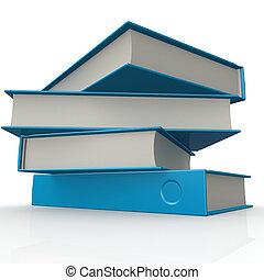 pile, de, bleu, livres