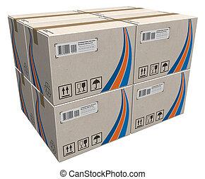pile, de, boîtes carton