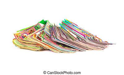 pile, de, coloré, magazines, isolé, blanc, fond