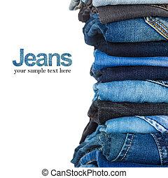 pile, de, divers, nuances bleu, jean, blanc, fond