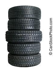 pile, de, nouveau, pneus
