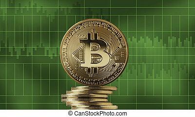 pile, de, pièces or, bitcoin, sur, a, arrière-plan vert
