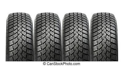 pile, de, quatre, roue voiture, hiver, pneus, isolé