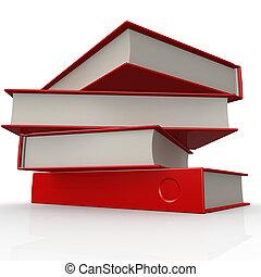 pile, de, rouges, livres