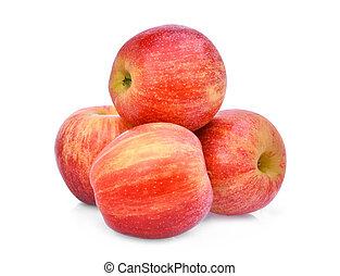 pile, de, rouges, pomme gala, isloated, blanc, fond