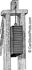 Pile Driver, vintage engraving