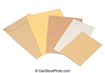 pile envelopes on white background