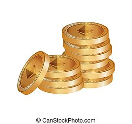 pile ethereum virtual coins vector illustration design