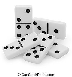 Pile from bones of a dominoes with black points