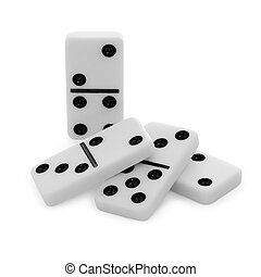 Pile from bones of dominoes on white background