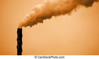 pile, fumée