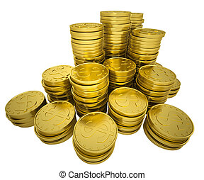 Pile gold coins. Isolated render on a white background