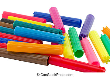 pile heap colorful felt tip pen cap isolated white