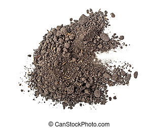 Pile heap of soil humus isolated on white background, top view