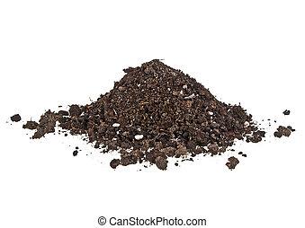 Pile heap of soil humus on a white background