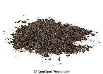 Pile heap of soil humus, white background.