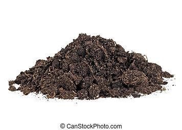 Pile heap of soil humus, white background