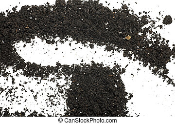 Pile heap of soil isolated on a white background, top view.