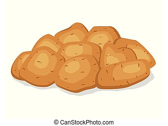 Pile heap of unpeeled potatoes isolated on a white background. Potato tuber on flat style. Set vegetable potatoes different shapes with brown pointed skin. Vector illustration