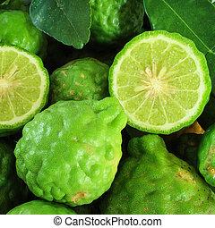 Pile kaffir limes - Background with pile kaffir limes