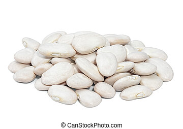 Pile Lima Bean isolated on white background. Large beans with a buttery flavor and starchy texture.