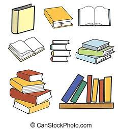 pile, livres, multi coloré