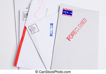Pile Mail Stamped FORECLOSED PAST DUE Isolated - Small group...