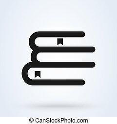 pile, moderne, vecteur, livre, ligne, illustration, icône, conception