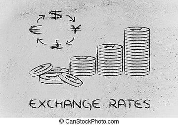 pile monnaies, et, symboles monétaires, taux change