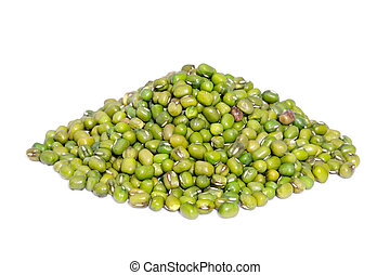 Pile Mung Bean isolated on white background.