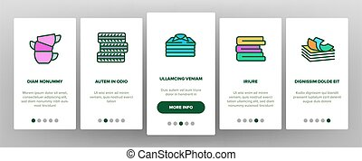Pile Objects Things Onboarding Icons Set Vector
