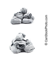 Pile of a low-cut socks isolated - Pile of a gray low-cut...