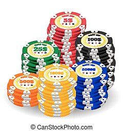 pile of a real colorful casino chips