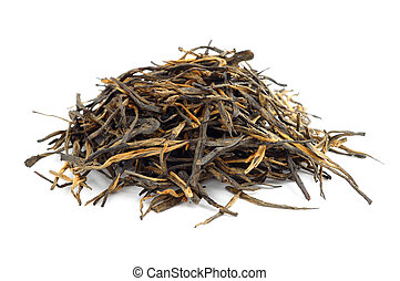Pile of air-dried black tea isolated on white background