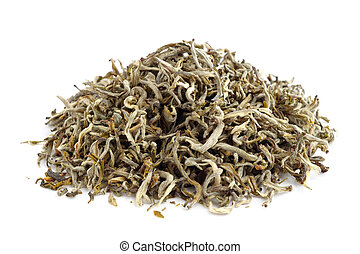 Pile of air-dried green tea isolated on white background