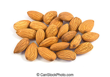 Pile of almond nuts isolated