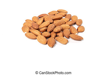 Pile of almond nuts isolated on white