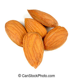 Pile of Almonds Isolated on White Background