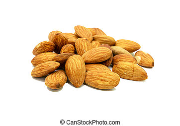 Pile of almonds isolated on white background. use for health concept