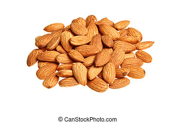 Pile of almonds isolated on white