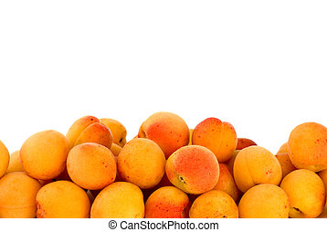 Pile of apricots isolated on the white background