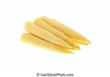 Pile of baby corn isolated on white background