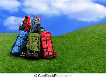 Pile of backpacks in the Nature