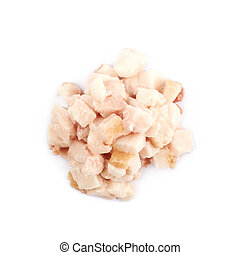 Pile of bacon fat cubes isolated